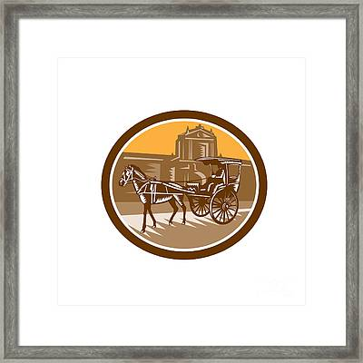 Horse-drawn Carriage Intramuros Woodcut Retro Framed Print