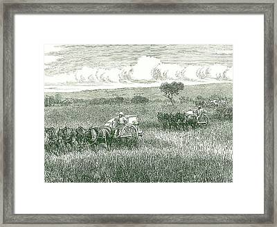 Horse-drawn Mechanical Harvesters Framed Print by Universal History Archive/uig