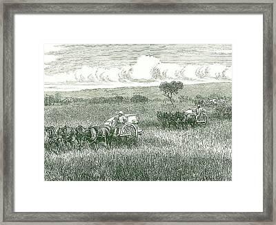Horse-drawn Mechanical Harvesters Framed Print