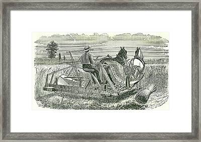 Horse-drawn Self-binding Reaping Machine Framed Print by Universal History Archive/uig