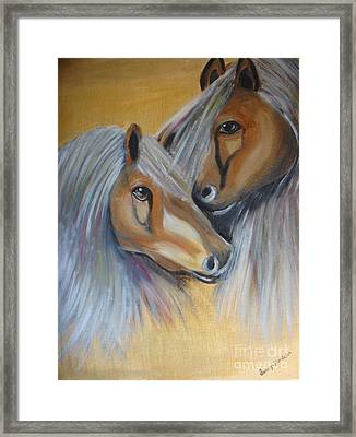 Framed Print featuring the painting Horse Duo by Saranya Haridasan
