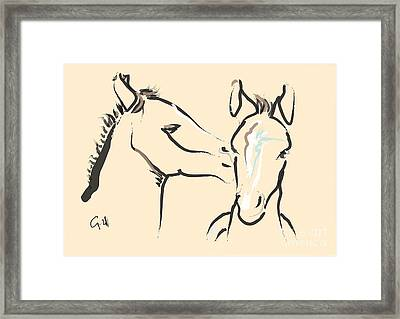 Horse-foals-together 6 Framed Print by Go Van Kampen