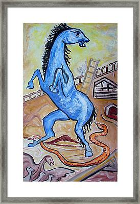 Framed Print featuring the painting Horse  Frightend By A Snake by Anand Swaroop Manchiraju