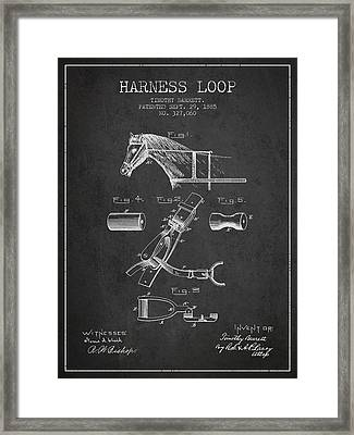 Horse Harness Loop Patent From 1885 - Dark Framed Print