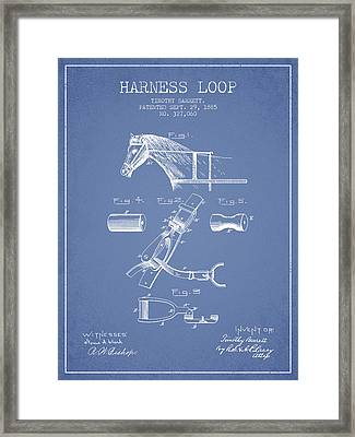 Horse Harness Loop Patent From 1885 - Light Blue Framed Print by Aged Pixel