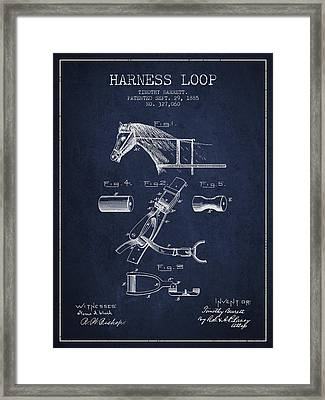 Horse Harness Loop Patent From 1885 - Navy Blue Framed Print by Aged Pixel