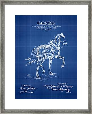 Horse Harness Patent From 1885 - Blueprint Framed Print by Aged Pixel