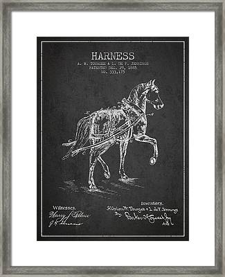 Horse Harness Patent From 1885 - Charcoal Framed Print by Aged Pixel