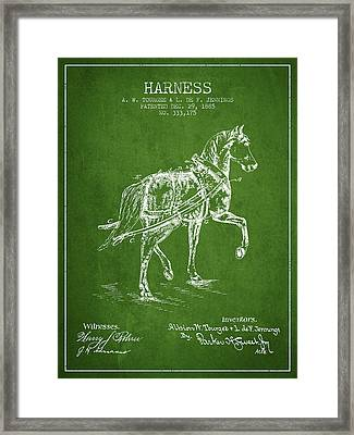 Horse Harness Patent From 1885 - Green Framed Print