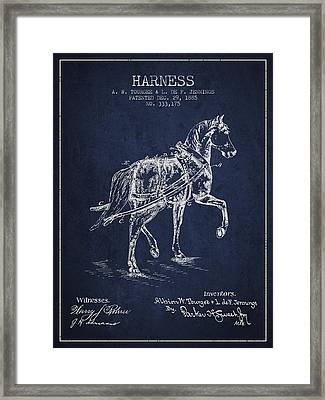 Horse Harness Patent From 1885 - Navy Blue Framed Print by Aged Pixel