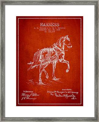 Horse Harness Patent From 1885 - Red Framed Print by Aged Pixel