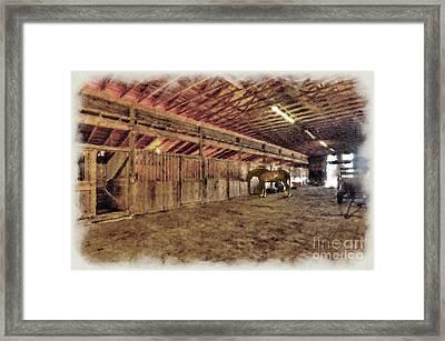 Horse In Barn Framed Print by Dan Friend