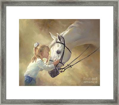 Horse Kisses Framed Print by Laurie Hein