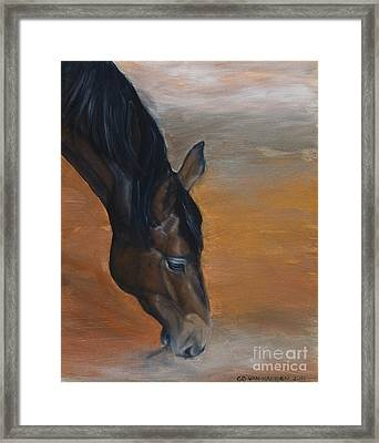 Framed Print featuring the painting horse - Lily by Go Van Kampen