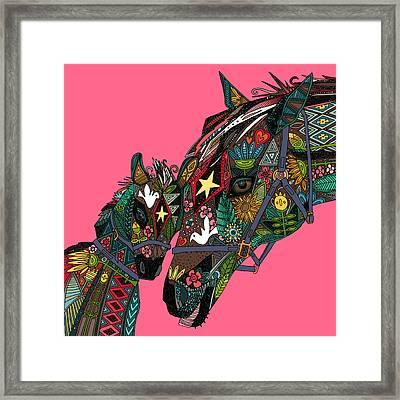 Horse Love Pink Framed Print by Sharon Turner