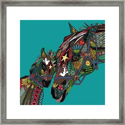 Horse Love Teal Framed Print by Sharon Turner