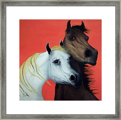 Horse Lovers In Red  Sold Framed Print by Patrick Trotter