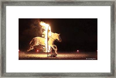 Framed Print featuring the photograph Horse On Fire by Stwayne Keubrick