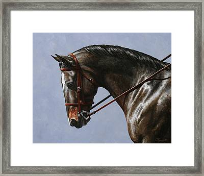 Horse Painting - Discipline Framed Print by Crista Forest