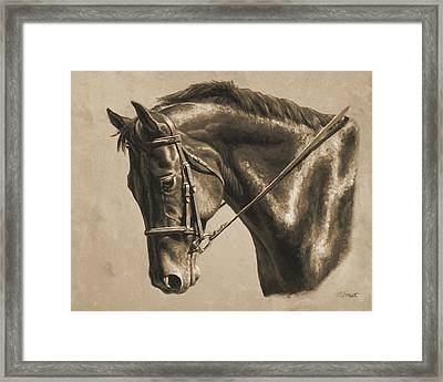 Horse Painting - Focus In Sepia Framed Print by Crista Forest