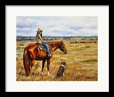 Cattle Dog Paintings Framed Prints