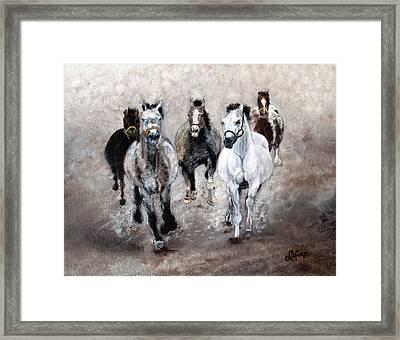 Horse Paintings Horse Art Equine Art Storm's Comin' Framed Print by Robert Lafaye