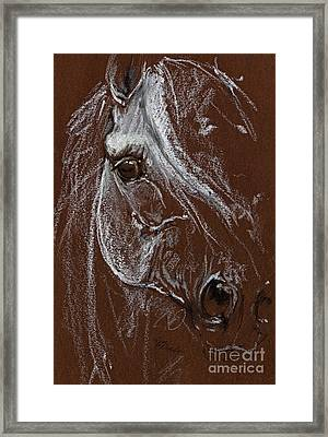 Horse Quick  Sketch Soft And Oil Pastel  Framed Print by Angel  Tarantella