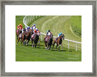 Horse Race At Belmont - Digital Image Framed Print