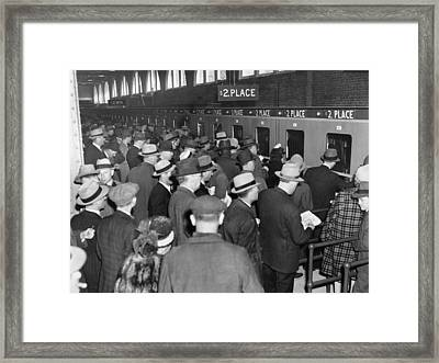 Horse Race Betting Framed Print by Underwood Archives