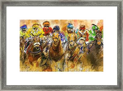 Horse Racing Abstract Framed Print