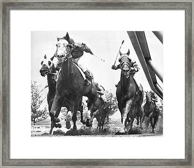 Horse Racing At Aqueduct Track Framed Print by Underwood Archives