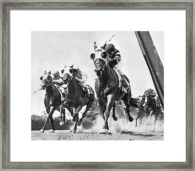 Horse Racing At Belmont Park Framed Print by Underwood Archives