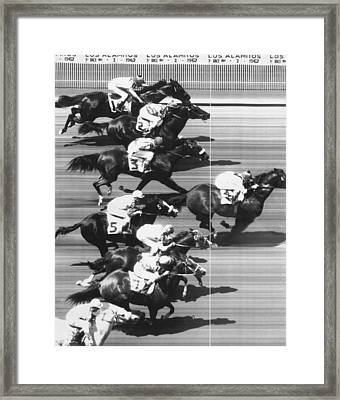 Horse Racing At Los Alamitos Framed Print