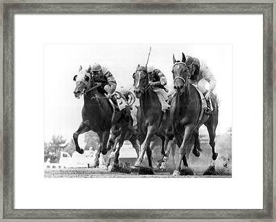 Horse Racing At Monmouth Park Framed Print by Underwood Archives