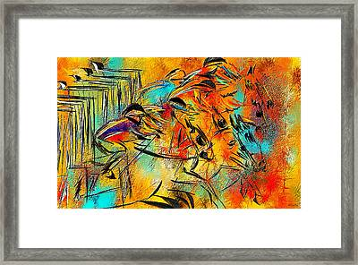 Horse Racing Colorful Abstract  Framed Print by Lourry Legarde