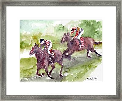 Framed Print featuring the painting Horse Racing by Faruk Koksal