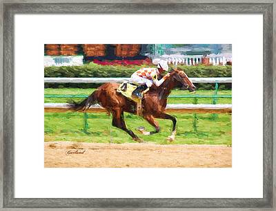 Horse Racing Framed Print by Garland Johnson