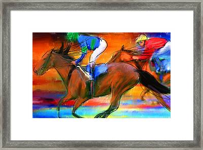 Horse Racing II Framed Print by Lourry Legarde