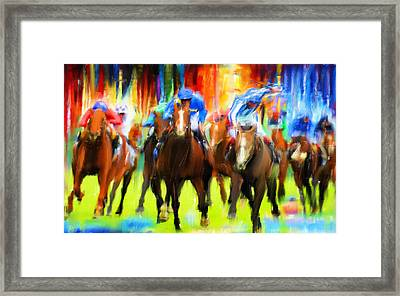 Horse Racing Framed Print by Lourry Legarde