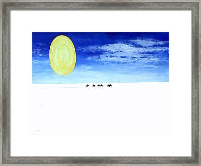 Horse Riding In The Snow Framed Print by Patrick J Murphy