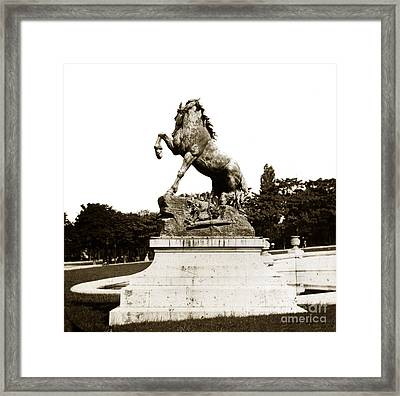 Framed Print featuring the photograph Horse Sculpture Trocadero  Paris France 1900 Historical Photos by California Views Mr Pat Hathaway Archives
