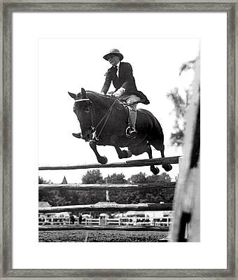 Horse Show Jump Framed Print by Underwood Archives