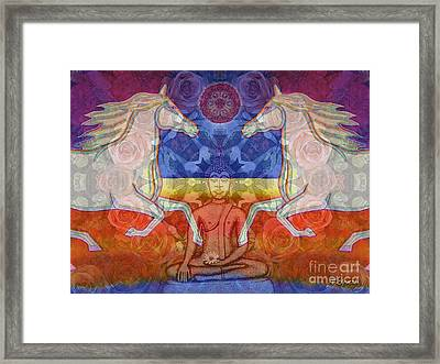 Framed Print featuring the digital art Horse Spirits In The Garden Of The Buddha 2 by Joseph J Stevens