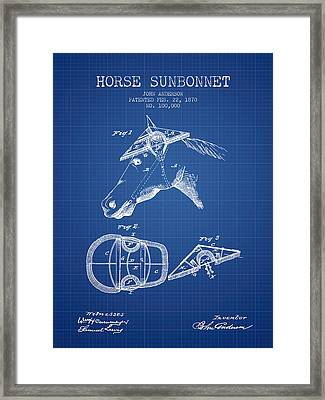Horse Sunbonnet Patent From 1870 - Blueprint Framed Print by Aged Pixel