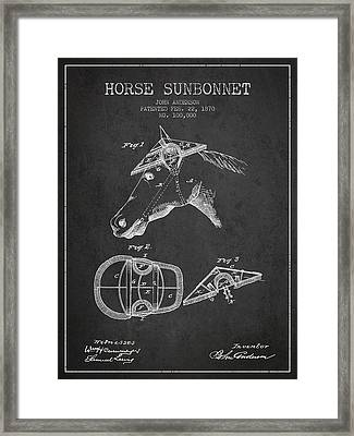 Horse Sunbonnet Patent From 1870 - Charcoal Framed Print by Aged Pixel