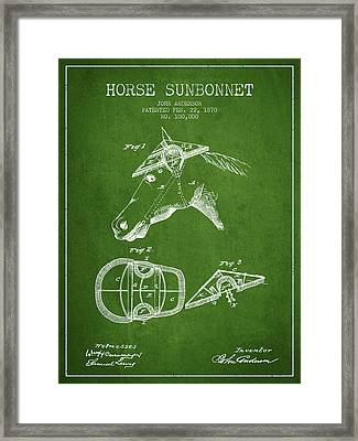 Horse Sunbonnet Patent From 1870 - Green Framed Print by Aged Pixel