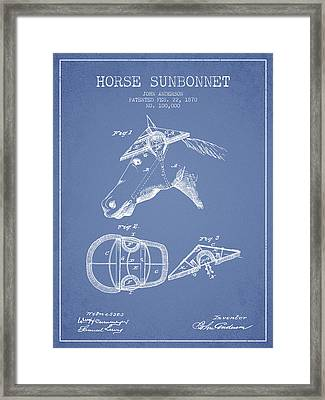 Horse Sunbonnet Patent From 1870 - Light Blue Framed Print