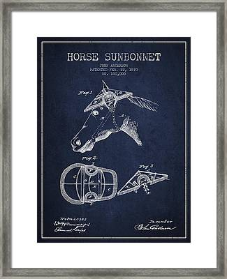 Horse Sunbonnet Patent From 1870 - Navy Blue Framed Print by Aged Pixel