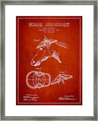 Horse Sunbonnet Patent From 1870 - Red Framed Print by Aged Pixel