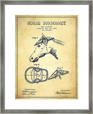 Horse Sunbonnet Patent From 1870 - Vintage Framed Print by Aged Pixel